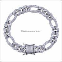 Tennis Jewelryhip Fashion Charm 10Mm Box Lock Nk Chain Bracelet For Men Hip Hop Bling Iced Out Paved Rhinestones Cz Rapper Bracelets Jewelry