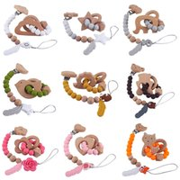 Newborn Pacifier Holders Baby Clips Weaning Teething Beads Pacifiers Chain Natural Wooden Flower Silicone Teether Infant Feeding Toys Kids Chew Toy 2Pcs Sets B7861