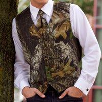 2021 Rústico Camo Groom Coletes Groomman Atire Slim Fit Mens Mens Vest Vest Prom Wear Vestido de Noiva Tailor Weistcoat Country Farm