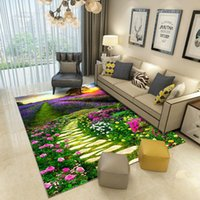 Carpets Home Decor Carpet 3D Green Flowers Plants Printed For Living Room Bedroom Area Rug Coffee Table Floor Mat Hallway