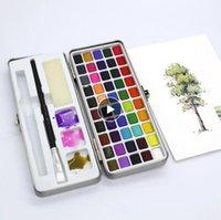 50 اللون الصلبة اللوحة الأقلام مجموعة مصبغة المحمولة لفنان رسم المائية ورقة الفن اللوازم دروبشيبينغ