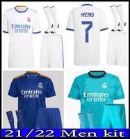 Fans Erwachsene Kit Real Madrid Jerseys 21 22 Fußball Fußball Hemden Alaba Gefahren Benzem MODRIC Kroos Vini JR Casemiro Camiseta Männer Kits Socken Full Sets
