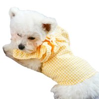 Pet Clothes Spring And Summer Yellow Grid Bow Thin Baby Sweater Cat Costume Costumes