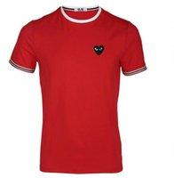 CDG Play Come Mens Designer con el corazón Deporte Tee Shirts des Garcons White Pablo Stripe para los vetementos de verano 2021