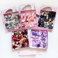 Hair Accessories 18pcs Girls Hairpins Elastic Bands Set Baby Clips Headband Flower Bow Barrettes Kid Children Gift Box
