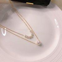 Halskette Persönlichkeit 14k vergoldetes Messing Natürlicher Süßwasser-Doppelweiß-echter Pearl-Schmuck für Damen