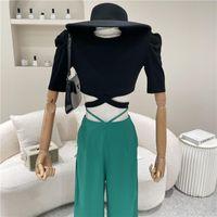 Women's T-Shirt Clothing Summer 2021 Niche Design Fashion Tight Puff Sleeve Top Cross