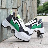 Hot Shoes Casual Sneakers Walk+Skates Deform Wheel Skates for Adult Men Women Unisex Couple Childred Runaway Skates Four-wheeled 222