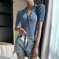 Damen Jumpsuits Strampler Deat 2021 Sommer Mode Beiläufige Patchwork Blau Elastic Gestrickte Button V-Ausschnitt Slim Kurzhülse Strampler Frauen SD58