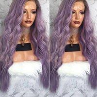 Perucas sintéticas cinzas cor roxa lace diantew peruca longa ondulada com cabelo de bebê livre parte luz para mulheres negras