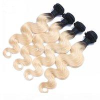 T # 1B 613 Virgin Brazilian Ombre волос Волна Волна 4шт 4шт Лот Темный Корт Блондинка 613 Блондинка Омбре Человеческие Волосы Сплечья Утканые Утканые Пучки для Женщины