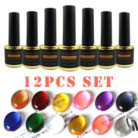 12st Glas Set 7ml Transparent Textur av UV Soak Off Gel Nail Polish Lack Lack Special Färgad Glaze Manicure
