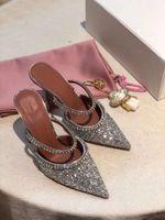 2021 Hot Sale-lity Amina Gilda 70 Embellished Mules Muaddi Silver Glitter Rainbow Strap Mules Woman Satin Leather Shoes