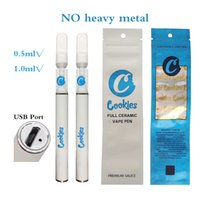 Cookies Full Ceramic Cartridges Disposable Empty Vapes Pen E Cigarettes delta 8 Rechargeable Starter Kit 290mAh Battery 0.5ml Carts Thick Oil Atomizers Packaging