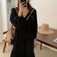 2021 Black Deligente Girls Elegante Fashion Fashion Femminile Coreano Chic Hot Collo V-Neck Donne Abiti Abiti Abiti Abiti Vestiti