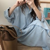Casual Dresses Blue Long Sleeve Shirt Dress Spring Patchwork White Cotton Collar Buttons Loose Robe Femme Vestido