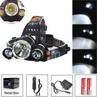 8000LM CREE XML T6 R5 Светодиодная фара фар головной лампы лампы света 4-образная горелка + 2x18650 аккумулятор + ЕС / US / AU / UK автомобильное зарядное устройство для рыболовных огней
