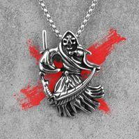 Pendant Necklaces Grim Reaper Death Skull Men Pendants Chain Punk For Boyfriend Male Stainless Steel Jewelry Creativity Gift Wholesale