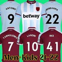 Top Thailand 21 22 West Soccer Jersey 2021 2022 Antonio Ham Lanzini United الأرز Benrahma Noble Football Shirt Men + Kids Kit مجموعات 1