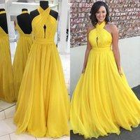 Платья подружки невесты 2021 желтый шифон для младшей свадебной вечеринки Гостевая платье-горничная почва Холтер без спинки