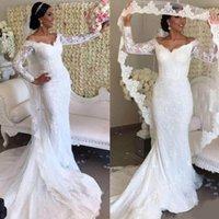 Robe de Mariage 2021 white tulle mermaid wedding dress beaded lace appliques long sleeve v neckline elegant bridal gowns court train bride dresses custom made