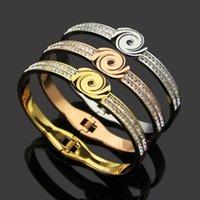 20 design mix de alta qualidade fábrica larga grande 17 cm diamante diamante pulseira de casamento rosa prata 316L flor de aço inoxidável amor jóias mulheres braceletes