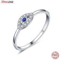 Tontgzhe حقيقي 925 فضة الشر العين سحر الأزرق تشيكوسلوفاكيا خاتم الزواج الإناث مجوهرات محظوظ فتاة التركية هدية 2021