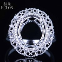 Cluster Rings HELON Oval 9X11mm Sterling Silver 925 Pave 0.15ct Natural Diamonds Engagement Semi Mount Ring Setting Filigree Fine Jewel