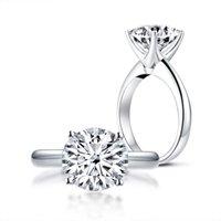 Lesf 25 CT Okrągły symulowany Diament 925 Sterling Silver Para Biżuteria Pierścionek dla kobiet