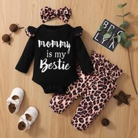 Clothing Sets Toddler Baby Girls Cotton Long Sleeve Letter Print Romper Leopard Pants Headband Outfits Autumn Fashion Born Infant Clothes