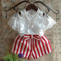 Summer Girl Strapless Top + Striped Shorts Fashion Cute Lace Shirt Loose Pants 2-piece Children's Clothing Sets 3-8 Years Old Kids Outfits