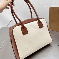 2021 new Fashion Canvas Handbag Women Bag Tote Bags Stitching Retro Brown Leather Zipper High Quality Cross Body Purse Plain Black Letter