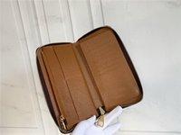 Оптовые известные бренд модный кошелек одиночный молния дизайнер мужской и женской кожи с оранжевой коробкой 63098