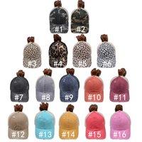 16 Farben gewaschenes Mesh Mordy Bun Camo Leopard Baseballmütze Outdoor Sports Trucker Hut Pferdeschwanz-Hüte