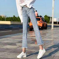Lente elastische losse denim vrouwen jean pocket knop casual boot cut broek jeans vrouwelijke hoge taille rechte lijn flare