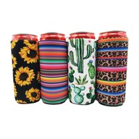 17 * 8.5cm Kühler Kühler Dünne Eisulatoren Neopren-Getränk-Bierkühler-zusammenklappbare Cola-Flasche Koozies Cactus Leopard Can Sleeve NHE6165