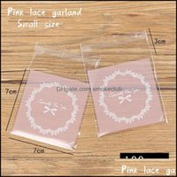 Gift Event Festive Supplies Home & Gardengift Wrap 50Pcs Lot Self Adhesive Plastic Bag Bow Frosted Lace Cutout Circle Candy Soap Cookie Hand