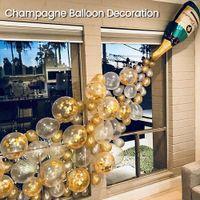 Бутылка шампанского алюминиевого шара, свадебная вечеринка, коктейль, украшение, вечеринка, фестиваль.