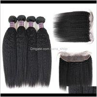 Trama Yaki Extensiones de Virgen Straight Bundles Closure Brasilian Hair 3bundles con encaje frontal Q3HF7 CQU2N