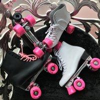 Reniaever double roller skates skating shoe real leather High boot Gift womens pink wheels figure skateswhite