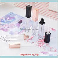 Jars Storage Housekeeping Organization Home & Gardenwholesale Plastic Makeup Packaging 5Ml Square Gold Empty Lip Gloss Tubes Clear Lipgloss