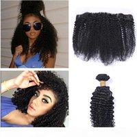 페루 버진 인간의 머리카락 확장 곱슬 곱슬 곱슬 머리 3 번들 레이스 정면 자연 검은 아프리카 곱슬 곱슬 머리 묶음 정면