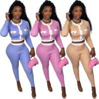Impressão xadrez Chique moda dois peça calça roupa feminina roupas de manga comprida botões para cima Crop top e magro fit legging cow sets