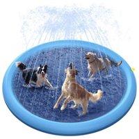 Kennels Pens Gonfiabile Pet Dog Splash Spruzzatore Pad Pad Vasca per cani Bambini all'aperto Giocare estivo Raffreddamento Storing Piscina Acqua Spray a