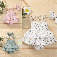 아이 rompers 여자 꽃 꽃 인쇄 장난감 유아 유아 슬링 jumpsuit 활 머리 띠 여름 패션 아기 의류 1596 b3
