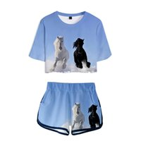 Animal Horse Pattern 3D Printed 2 Piece Outfits for Women Crop Top Track Suit Two Piece Set Top and Shorts Set Ladies Tracksuits