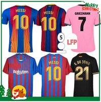 2021 2022 Messi Kun Aguero Ansu Fati 스포츠 축구 유니폼 20 21 Griezmann De Jong Pjanic Coutinho 축구 셔츠 바르셀로나 성인 남성 + 키즈 키트