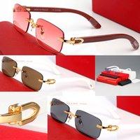Hot Selling Buffalo Horn Glasses Fashion Men Sport Eyeglasses Decor Rimless Alloy Frame Wood Legs Mens Sunglasses lunettes de soleil