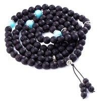 Perles de prière bouddhiste 7 Chakra MultiLayer Yoga Méditation Mala Healing Lava Rock Diffuseur Bracelet Collier Cadeau Coffret Perlé, Strands