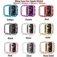 Bling Crystal Diamond Full Cover Protective Cases PC Bumper For Apple Watch iWatch series 6 5 4 3 2 44mm 42mm 40mm 38mm
